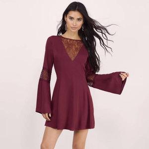 Tobi Bell Sleeve Lace Skater Dress
